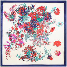Spring Winter Women Imitated Silk National Wind Flower Butterfly Printed 90cm*90cm square Scarves Shawl(China)