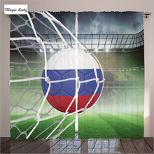 Curtains Games Football Living Room Soccer Net Gate Goal Champion Russia Flag Art Stadium Victory Bedroom Green White 290*265 cm