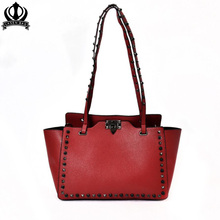 2017 new trendy rivets shoulder bag fashion Trapeze tote bag handbag women shopper bag fashion bag c228(China)