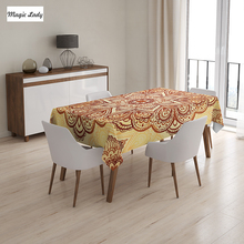 Indian Table Cloth Mandala Tapestry Ethnic Circular Oriental Floral Decoration Round Beige Orange 145x120 cm / 145x180 cm