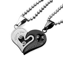 Uloveido Stainless Steel Necklaces & Pendants Heart Love Necklaces for Couples Women Men Necklace Valentine's Day Gifts SN102(China)