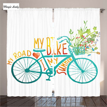 Living Room Curtains Drapes Bedroom Vintage Bike Floral Bouquet Vehicle Human Transport Blue Yellow 2 Panels Set 145*265 sm