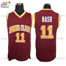 2017 Dwayne Mens College Cheap Basketball Jerseys #11 Steve Nash Jersey Santa Clara Retro Stitched Throwback Basket-ball Shirt