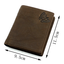 Men Wallet 100% Genuine Leather Butterfly pattern Vintage short Wallet  personality Purse With Zipper Coin Pocket