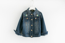 2017 Girls Denim Jacket Fall New Long Sleeves Embroidered Flowers Coat Fine Children's Clothing Pocket Tops High Quality