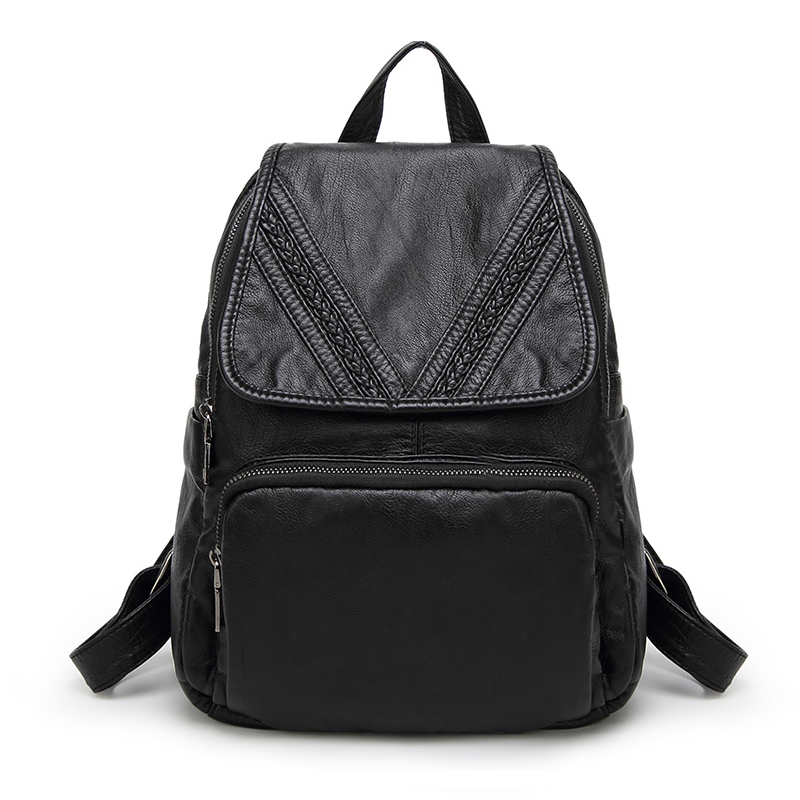 Women Backpack School Bags For Teenagers Girls 2017 Fashion Black Student Schoolbag Luxucy Brand Leather Plush kanken Backpacks<br>