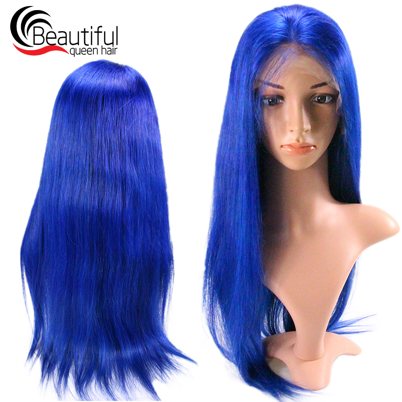 blue straight full lace wig