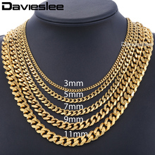 Davieslee Men's Chain Stainless Steel Necklace for Women Men Gold Color Curb Cuban Link Hiphop Jewelry DLKNM08(China)