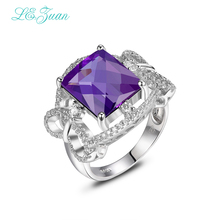 I&zuan Amethyst Woman Rings Classic Checkerboard 4.86ct Natural Square Cut Gemstone Wedding 925 Sterling Silver Jewelry(China)