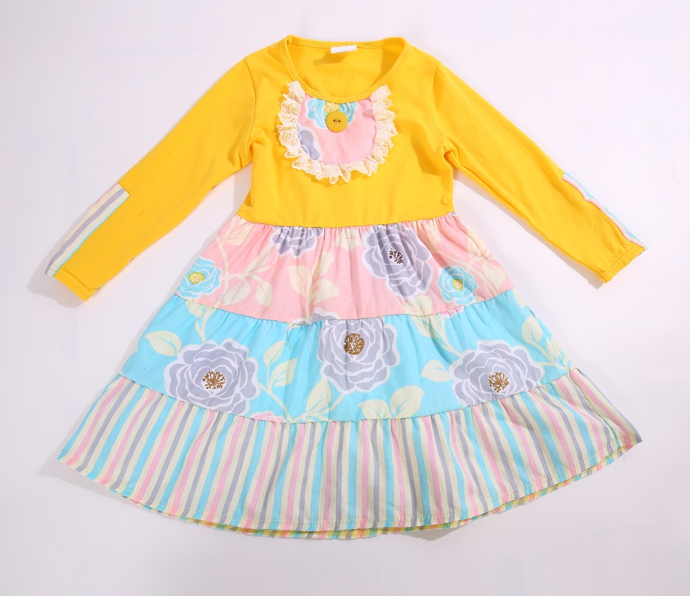 Summer Special style 100%cotton with uniquer Five Ruffles trim and Full sleeves Baby Girls Dress Apparel Accessory<br>