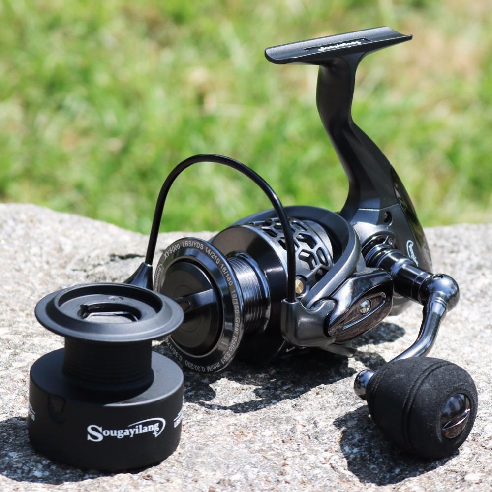 Moulinet de pêche 13+1 roulements, taille 1000 à 5000, ratio 5.1/1, frein 12 kg