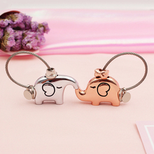 Lovely Cartoon Elephant Animal Keychain Steel Wire Key Chain Keyring Couple Gift(China)