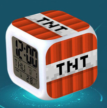 2017 New Touch light Minecraft Alarm Clock with LED cartoon game action toy figures star wars spiderman Action Figure Toys