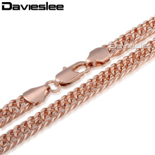 7/8mm Shiny Cut Double Curb Rombo Womens Mens Chain Yellow Rose Gold Filled GF Necklace Customized Wholesale Gift LGN329