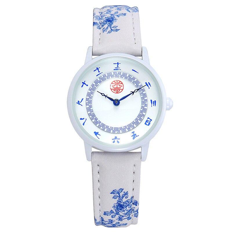 Disney brand child girls watches cartoon children students Chinese style leather quartz clocks waterproof wristwatch white red<br>