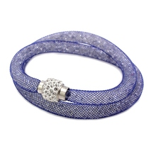 New Hot Sale Mesh Tube Double Rows Bracelets Crystal Filled Rhinestone Magnetic Clasp Charm Mesh Wrist Bracelets Bangles(China)