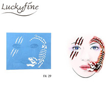 7pcs/set Face Paint Stencil Reusable Eye Template Different DIY Design Painting For Halloween Christmas Tattoo Makeup Tool 2017