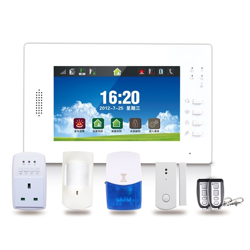 7inch Touch Keypad QUAD Band GSM Alarm Home DIY System with 868Mhz Wireless Security Alarm Sensor Smart Socket Free APP Control_1