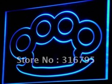 i778 Knuckles Brass Weapons Bar Pub LED Neon Light Sign On/Off Switch 7 Colors 4 Sizes