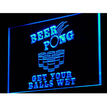i939 Beer Pong Get Your Balls Wet Neon Light Sign On/Off Switch 7 Colors 4 Sizes