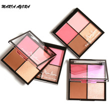 MARIA AYORA Professional Blusher Palette Face Cosmetics  4 Color Shimmer Matte Contour Palette Powder Highlighter Blush Makeup