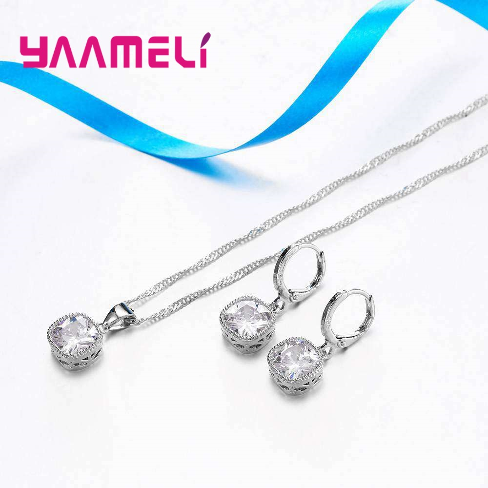 YAAMELI-High-End-Stylish-Women-Necklace-And-Earrings-925-Sterling-Silver-Jewelry-Set-With-Simple-Square (2)