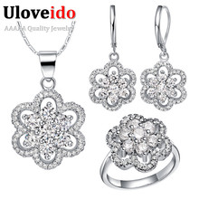 Uloveido Fashion Flower Wedding Accessories Purple China Rhinestone Bridal Jewerly Sets for Women Silver Color Jewelry Set T490
