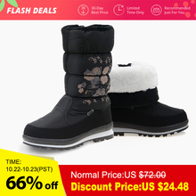 GOGC 2018 New Arrial Women's Winter High Boots Shoes Comfortable Flower Floral Women's Boots Winter Boots for Women Winter Shoes(China)
