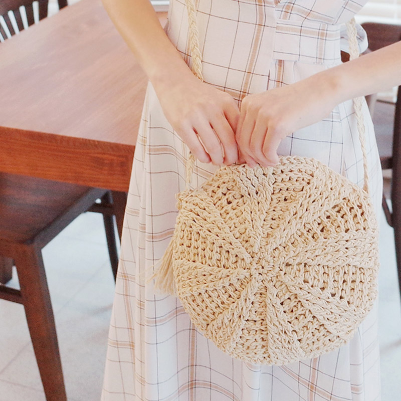 Women Straw Bags Bohemian Raan Female Beach Handbag Circle Lady Weave Messenger Bag Handmade Round Kined Crossbody SS3114 (10)