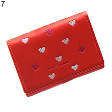 Women Clutch Short Style Love Heart Purse Card Coin Holder Storage Trifold Wallet