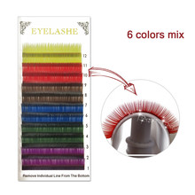 Colorful Eyelashes 12 Lines/Tray Rainbow Eyelash Extensions Kit Colored Cilia Double Color Magnetic Eyelashes Two Tones BK1