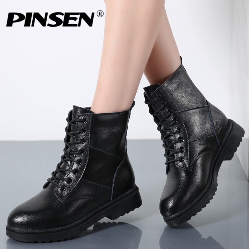 PINSEN 2017 Women Winter Motorcycle Ankle Boots Shoes Woman Short Snow Lace Up Boots Women Warm Plush Leather Army Boots<br>