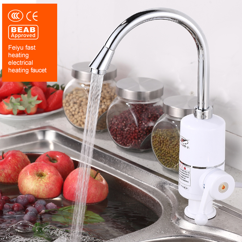 Feiyu Tankless Electric Water Heater Kitchen Instant Hot Water Tap Heater Electric Water Faucet Instantaneous Heater 3000W<br>