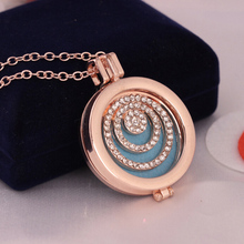 Round Peace New Style Box Cage Web Open Locket Pendant Perfume Essential Oil Aromatherapy Aroma Diffuser Necklace with Pad(China)