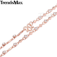 Trendsmax 4MM Womens Chain Necklace Short Rhombic Bead Rhinestones Necklace Rose Gold Filled Necklace Fashion Jewelry GNM60