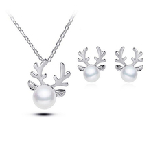 Women Fashion Faux Pearl Charm Elk Design Pendant Earrings Necklace Jewelry(China)