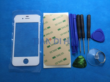 Front Outer Glass Lens Kits for iPhone 4 4S Front Cover Replacements Repair Parts Free Sticker Tools Black White