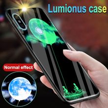 "PKR 534.37  16%OFF | Luminous Glass Case For Xiaomi Redmi 5 Plus 5.99"" 5A 6A S2 Luxury Night Glowing Back Cover Case For Redmi 6 Pro Mi A2 Lite"