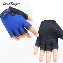 Long Keeper Children Gloves For Body Building Training Half Finger luvas for 5-13 Years Kids Silicone Anti-slip Boys Girls Glove(China)