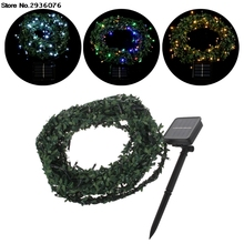 100 LEDS 10M Solar Power Waterproof Leaf Garland Fairy String Light Christmas Wedding Decor(China)