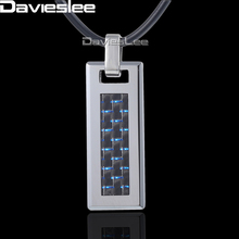 Davieslee Mens Womens Tungsten Pendant Necklace Silver Blue Grid Tag Chain DTN04