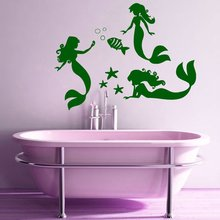 Wall Decal Vinyl Sticker Mermaid With Fish Bubble For Bathroom Bathtub Art Decoration Removeable Widow Design Poster DIY WW-452(China)