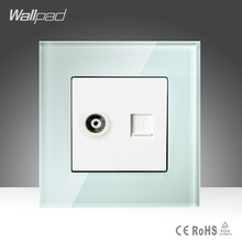 TV + Data Sokcet Wallpad White Tempered Glass RJ45 Computer Internet and Television Socket Jack Outlet Wall Socket Free Shipping(China)
