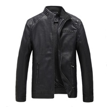Buy Male Leather Jacket Men's Black Zipper PU Faux Coats Men Stand Collar Motorcycle leather jackets jaqueta de couro masculino for $58.00 in AliExpress store