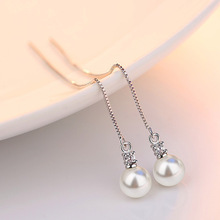 Hot Sale Simple Tassel Earrings Chain Ear Jewelry Gold Color Simulated Pearl Charm Long Drop Earrings Women Hanging Brincos(China)