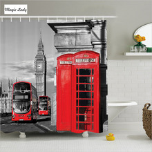 Shower Curtain Bathroom Accessories UK London Telephone Booth Street Cultural Decor England Red Grey 180*200 cm