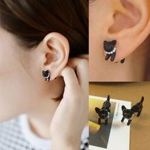 2015 New hot 1 Pcs not 1 Pair sale Cute Woman Lady Girl Black Cat Pearl Stud Earring Puncture Ear Jewelry Drop Shipping EAR-0193