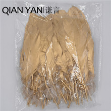 QIANYAN 10-18cm(4-7inch) 100 Pieces Spray gold Metallic Plume White Goose Feather for DIY and Carinival Decoration Feathers(China)
