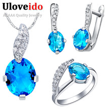 Uloveido Crystal Necklace Earrings Set Pendant Wedding Accessories Blue Bridal Jewerly Sets for Women Parure Bijoux Femme T222