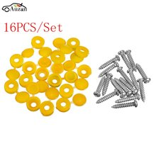 16PCS Car Yellow Hinged Cover Caps Number Plate Fitting Fixing Self Tapping Screws